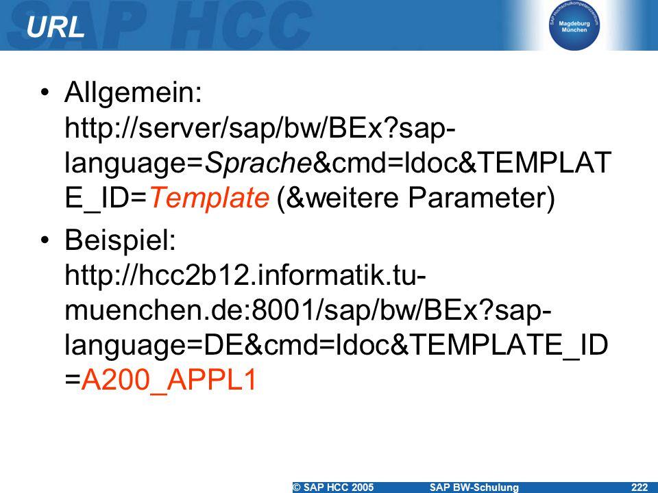 URL Allgemein: http://server/sap/bw/BEx sap-language=Sprache&cmd=ldoc&TEMPLATE_ID=Template (&weitere Parameter)