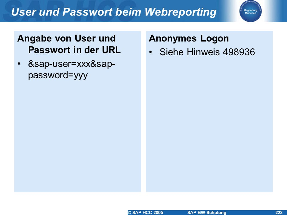 User und Passwort beim Webreporting