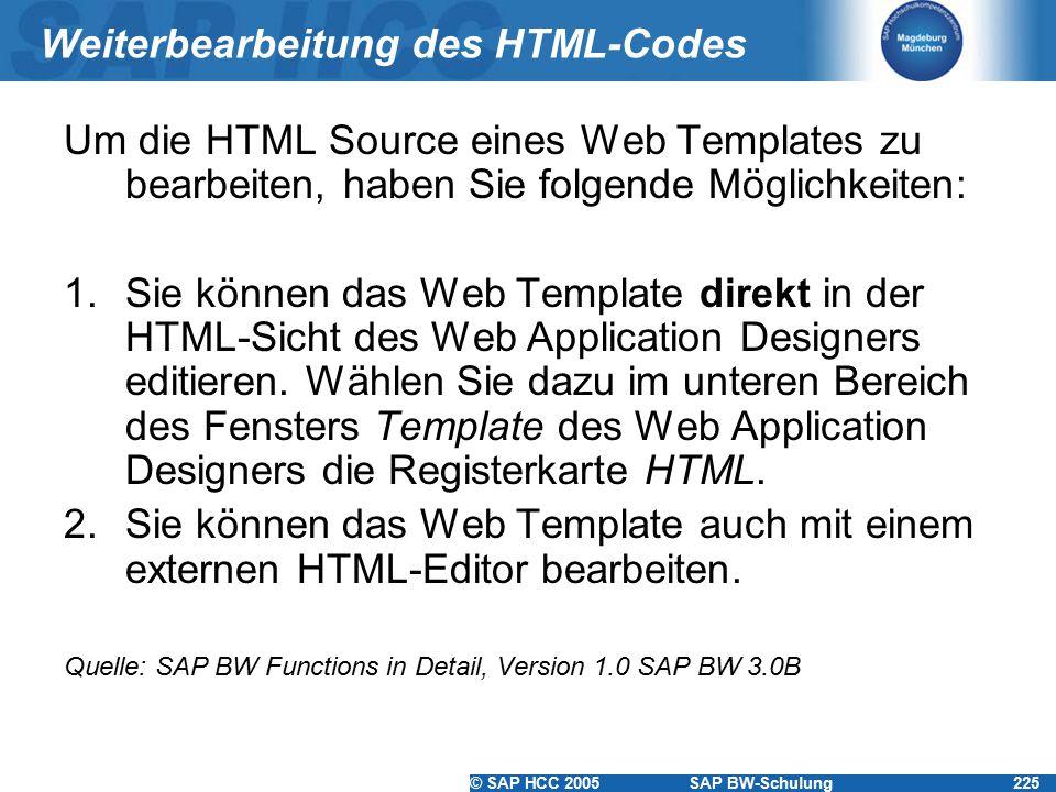 Weiterbearbeitung des HTML-Codes