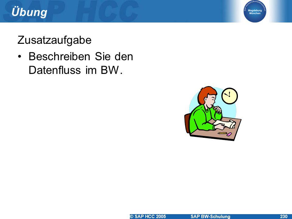 Übung Zusatzaufgabe Beschreiben Sie den Datenfluss im BW.