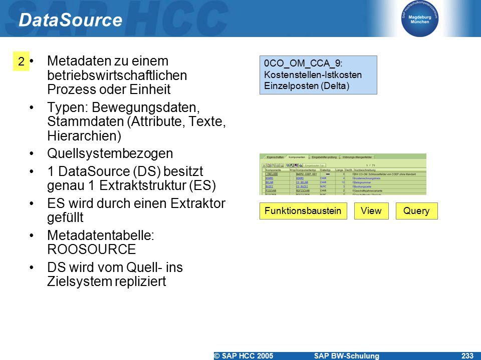 DataSource 2. Metadaten zu einem betriebswirtschaftlichen Prozess oder Einheit. Typen: Bewegungsdaten, Stammdaten (Attribute, Texte, Hierarchien)