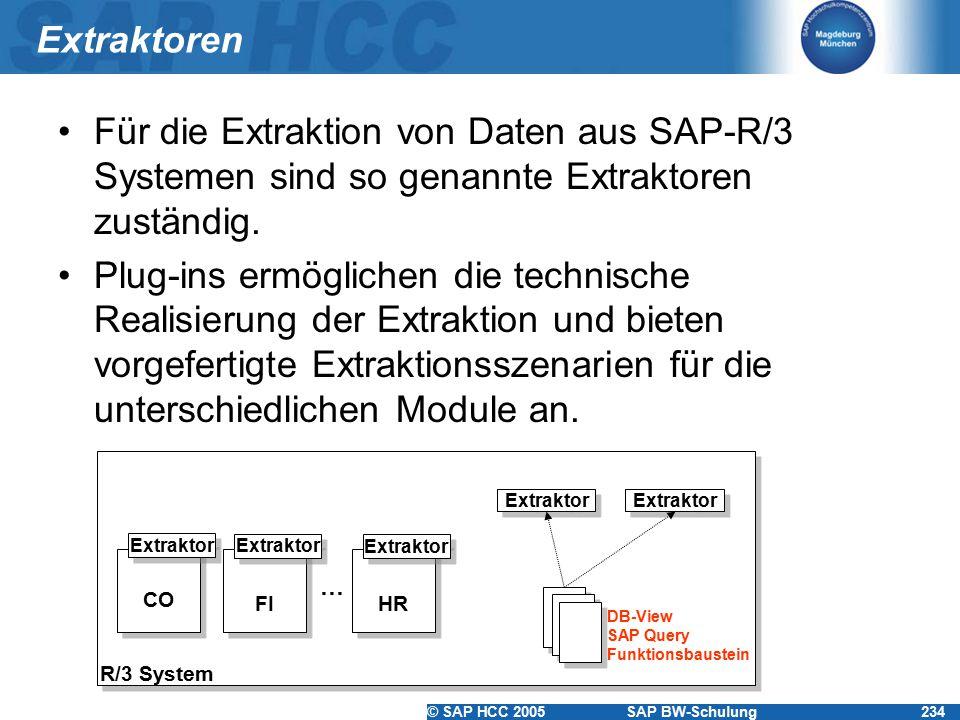 Extraktoren Für die Extraktion von Daten aus SAP-R/3 Systemen sind so genannte Extraktoren zuständig.