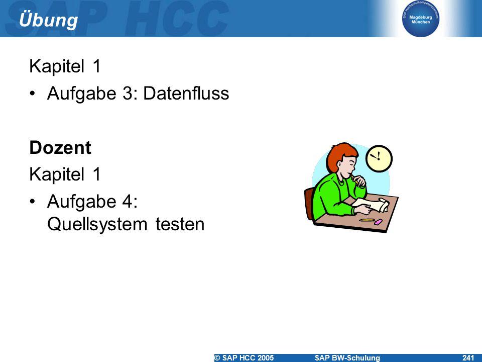 Übung Kapitel 1 Aufgabe 3: Datenfluss Dozent Aufgabe 4: Quellsystem testen