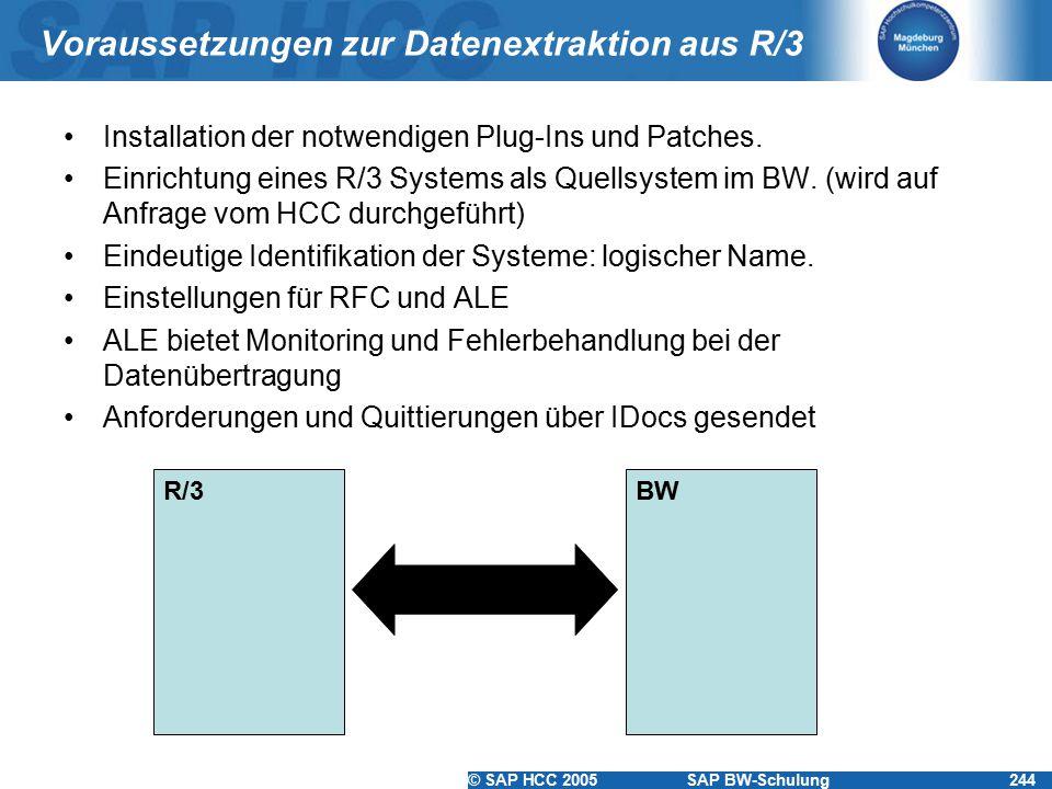 Voraussetzungen zur Datenextraktion aus R/3