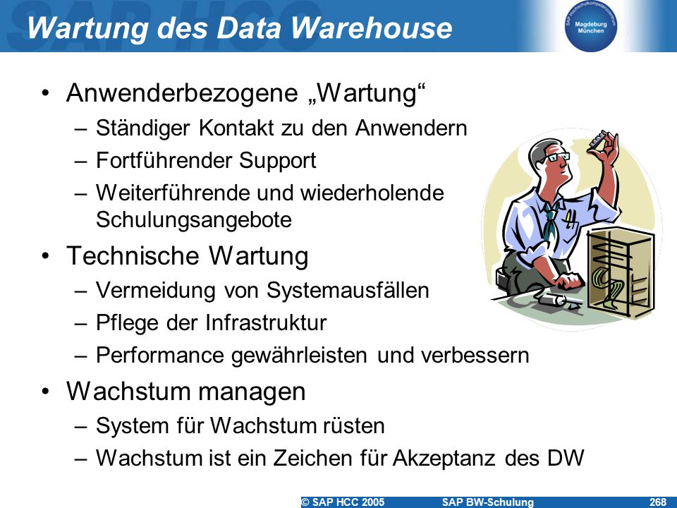 Wartung des Data Warehouse