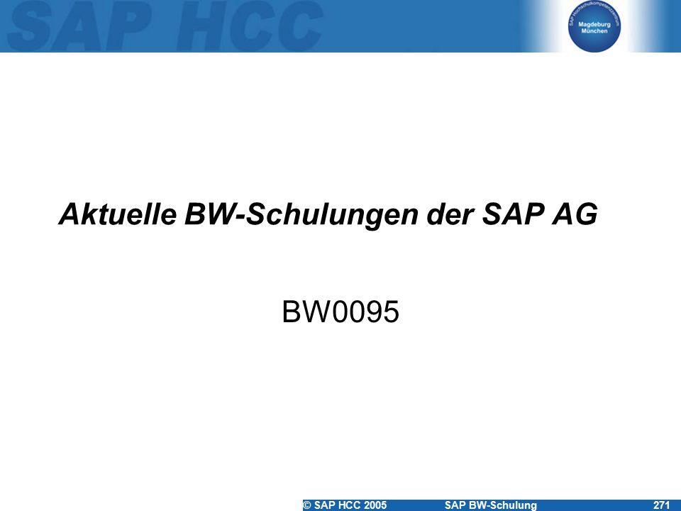 Aktuelle BW-Schulungen der SAP AG
