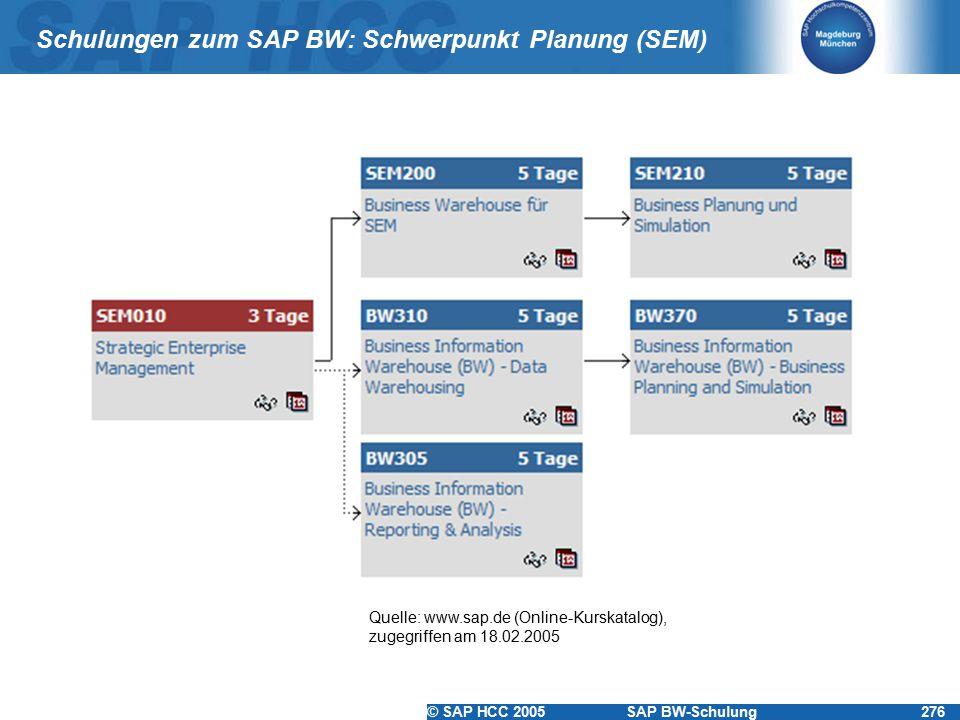 Schulungen zum SAP BW: Schwerpunkt Planung (SEM)