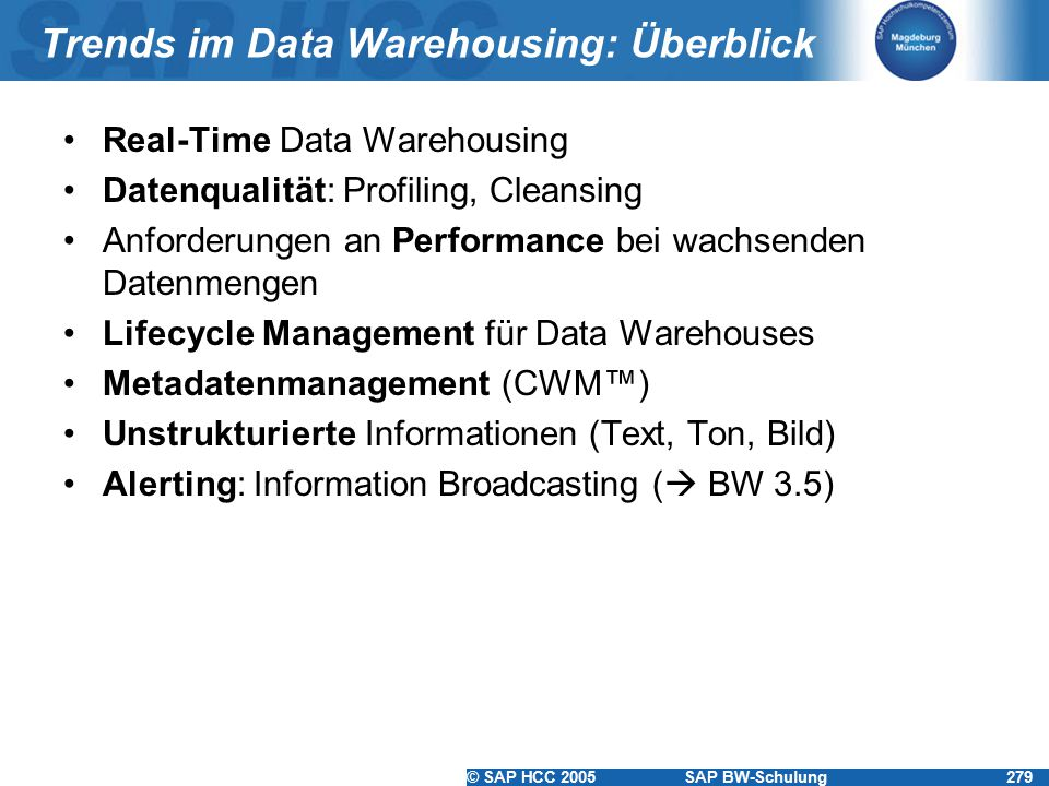 Trends im Data Warehousing: Überblick