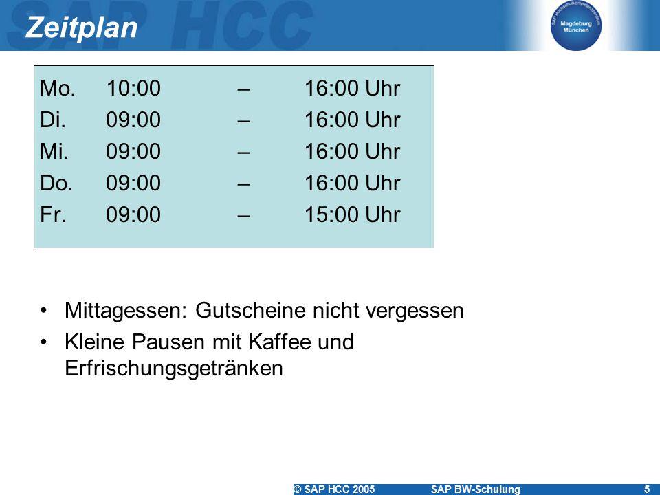Zeitplan Mo. 10:00 – 16:00 Uhr Di. 09:00 – 16:00 Uhr