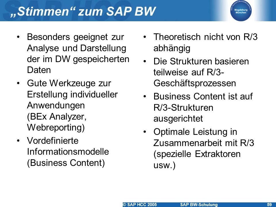 """""""Stimmen zum SAP BW Besonders geeignet zur Analyse und Darstellung der im DW gespeicherten Daten."""