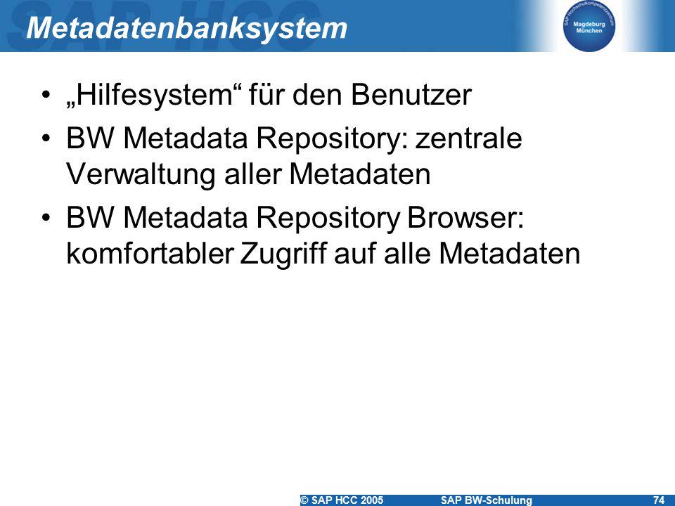"""Metadatenbanksystem """"Hilfesystem für den Benutzer. BW Metadata Repository: zentrale Verwaltung aller Metadaten."""