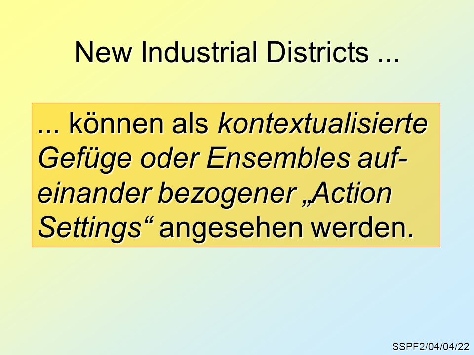 New Industrial Districts ...