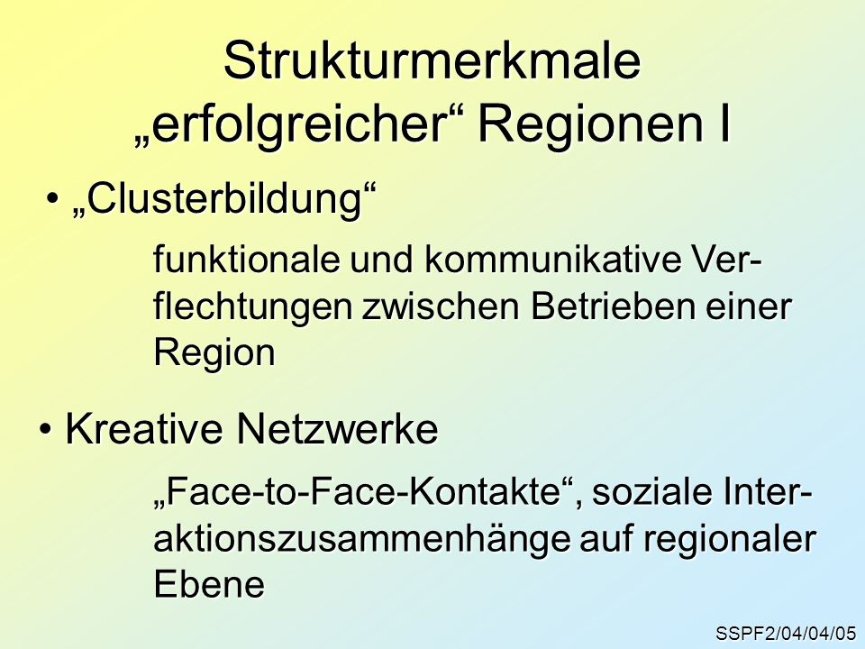 "Strukturmerkmale ""erfolgreicher Regionen I"