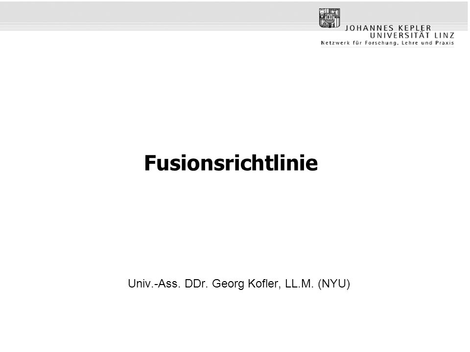 Univ.-Ass. DDr. Georg Kofler, LL.M. (NYU)