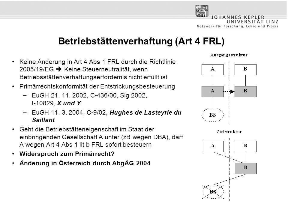 Betriebstättenverhaftung (Art 4 FRL)