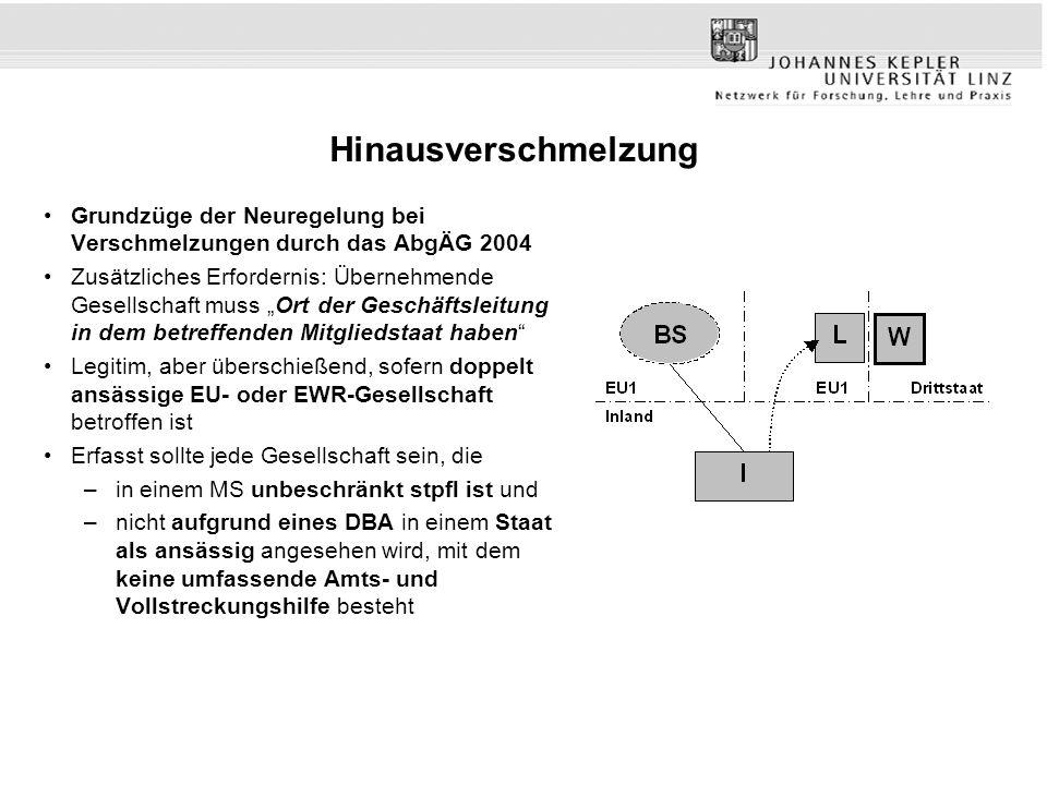 Hinausverschmelzung Grundzüge der Neuregelung bei Verschmelzungen durch das AbgÄG 2004.