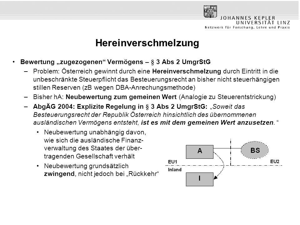 "Hereinverschmelzung Bewertung ""zugezogenen Vermögens – § 3 Abs 2 UmgrStG."