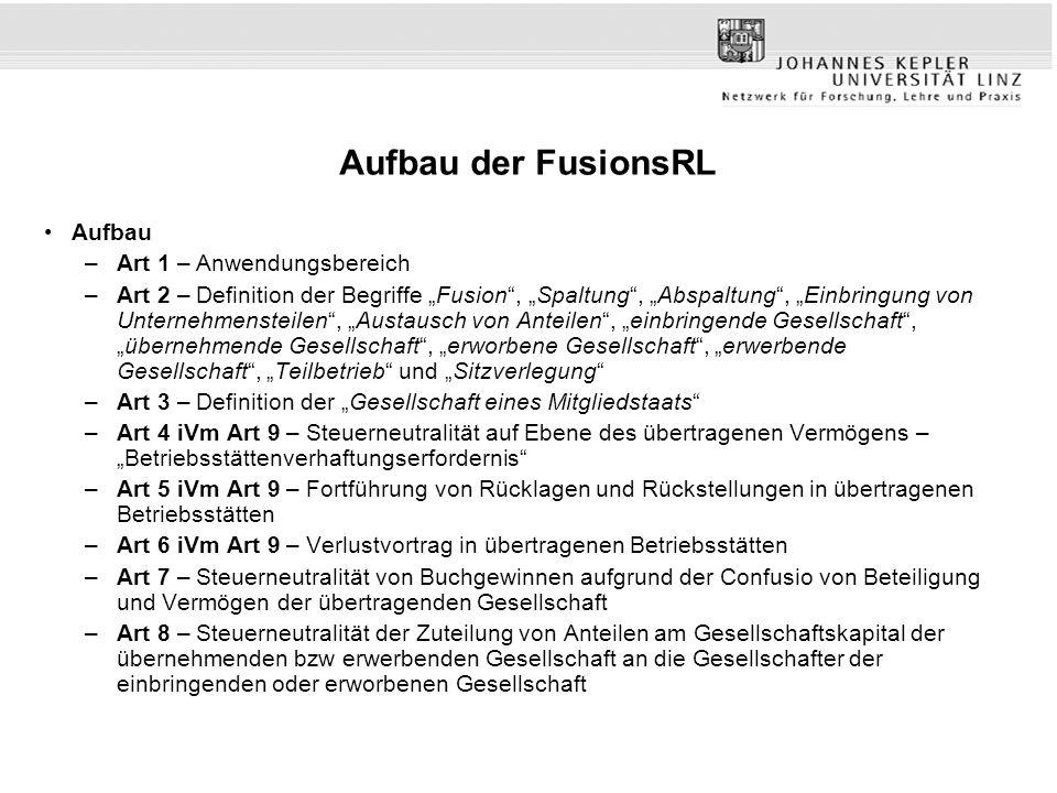 Aufbau der FusionsRL Aufbau Art 1 – Anwendungsbereich