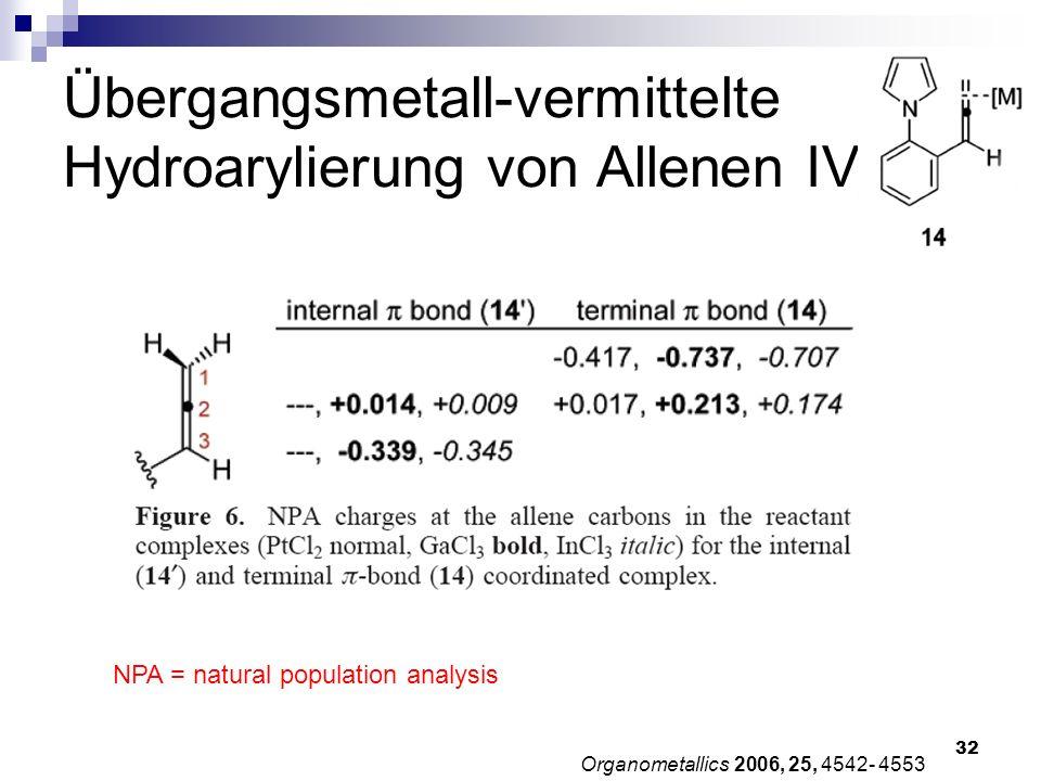Übergangsmetall-vermittelte Hydroarylierung von Allenen IV
