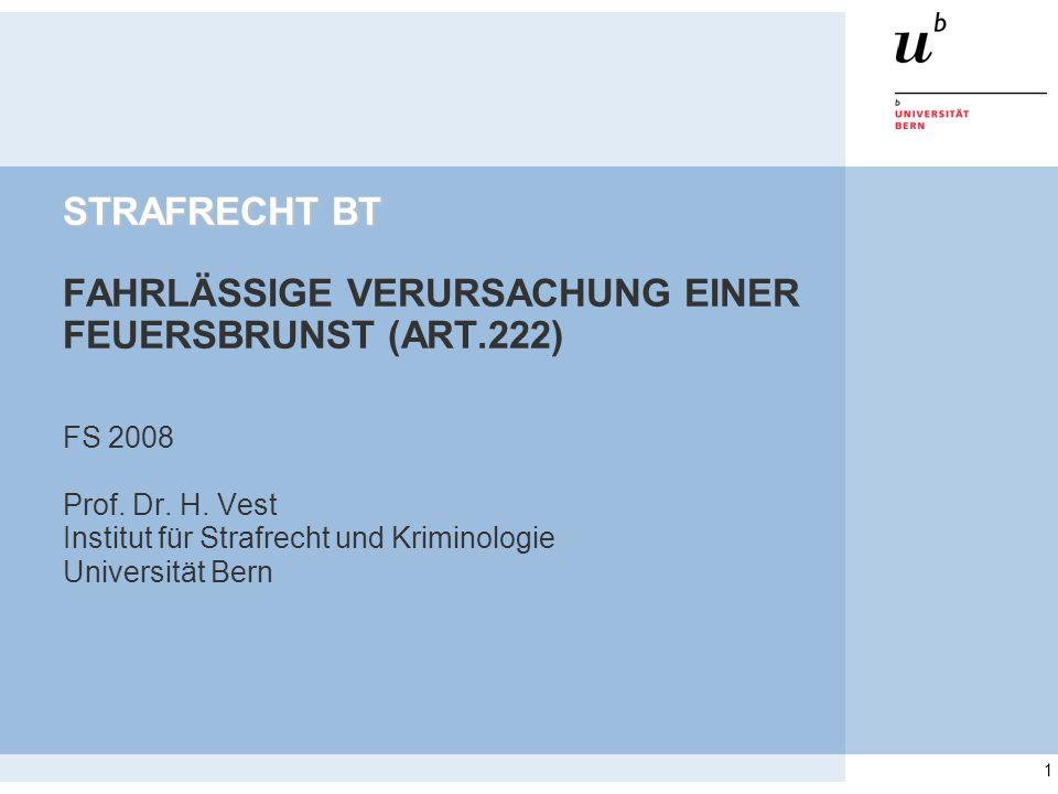 STRAFRECHT BT FAHRLÄSSIGE VERURSACHUNG EINER FEUERSBRUNST (ART.222)