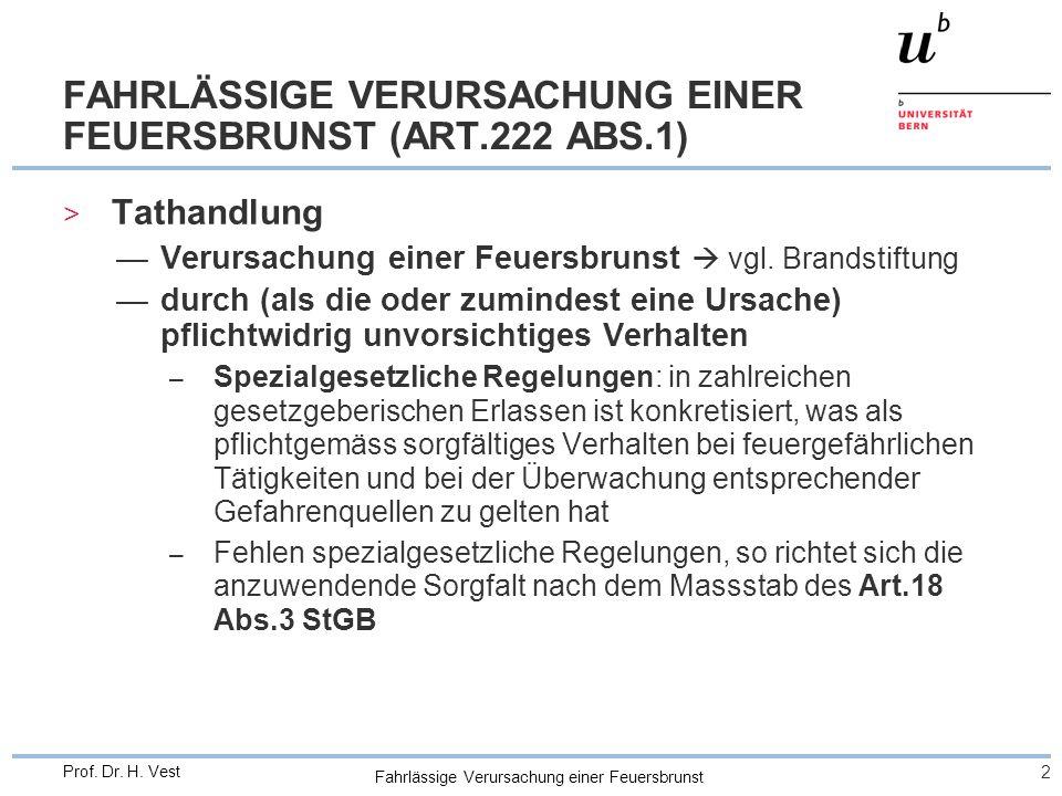 FAHRLÄSSIGE VERURSACHUNG EINER FEUERSBRUNST (ART.222 ABS.1)