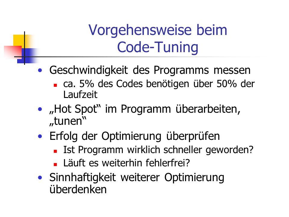 Vorgehensweise beim Code-Tuning