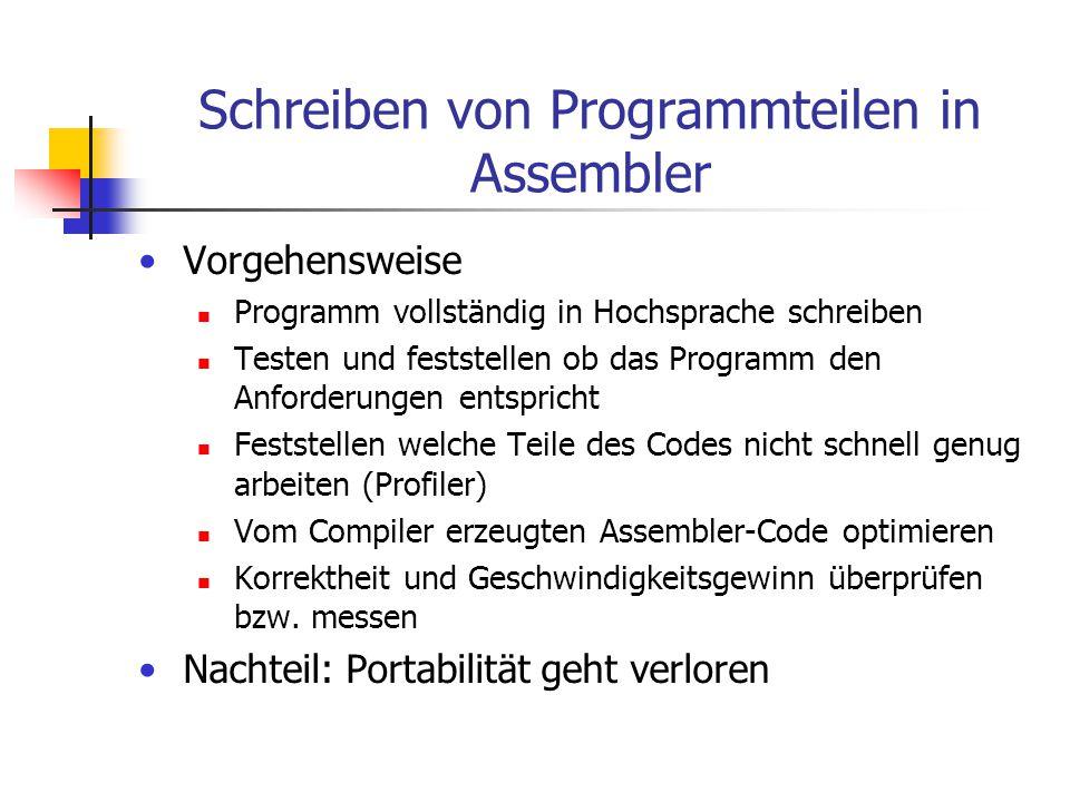 Schreiben von Programmteilen in Assembler