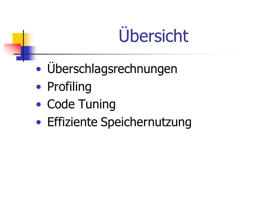 Übersicht Überschlagsrechnungen Profiling Code Tuning