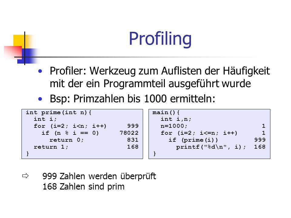 Profiling Profiler: Werkzeug zum Auflisten der Häufigkeit mit der ein Programmteil ausgeführt wurde.