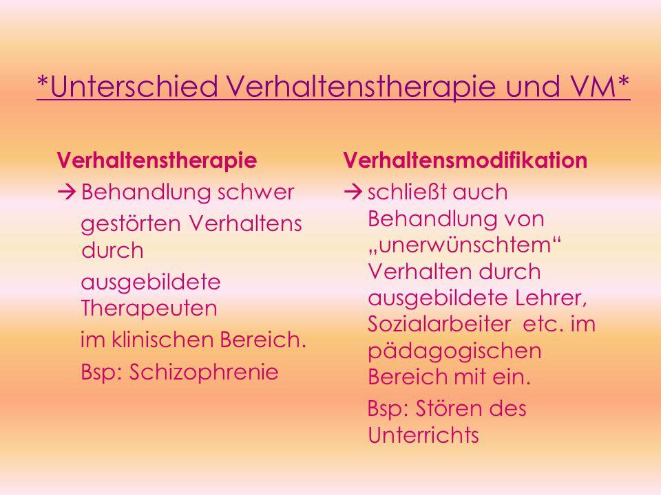 *Unterschied Verhaltenstherapie und VM*