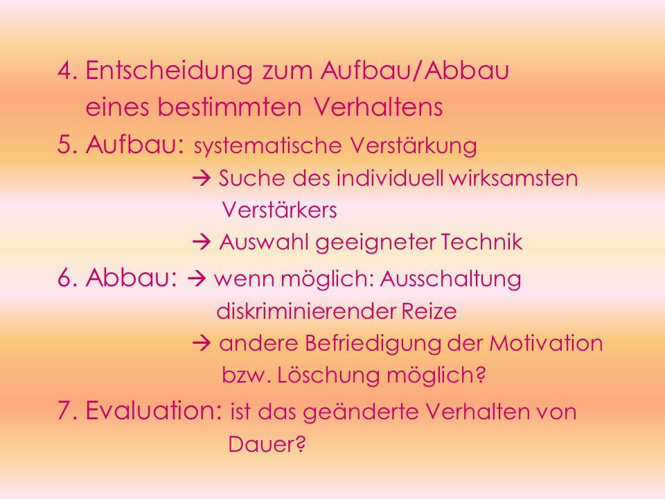 4. Entscheidung zum Aufbau/Abbau eines bestimmten Verhaltens