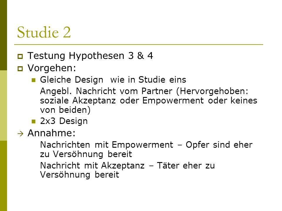Studie 2 Testung Hypothesen 3 & 4 Vorgehen: Annahme: