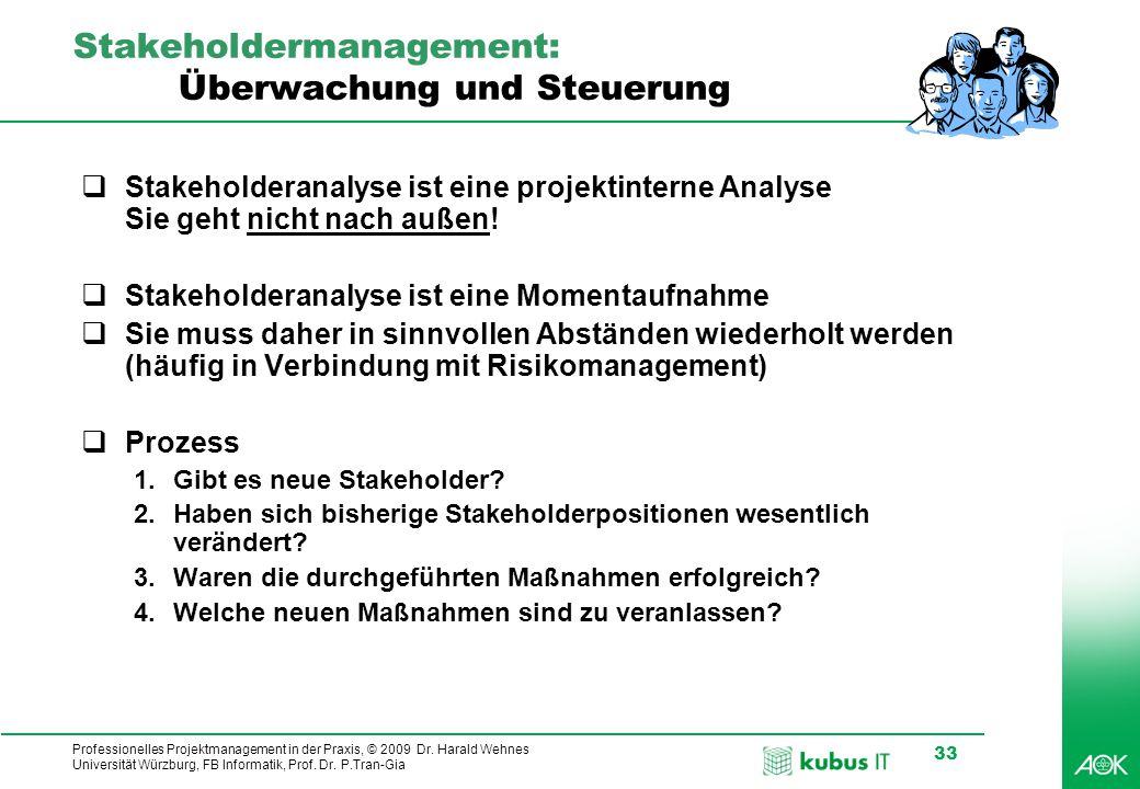 Stakeholdermanagement: Überwachung und Steuerung