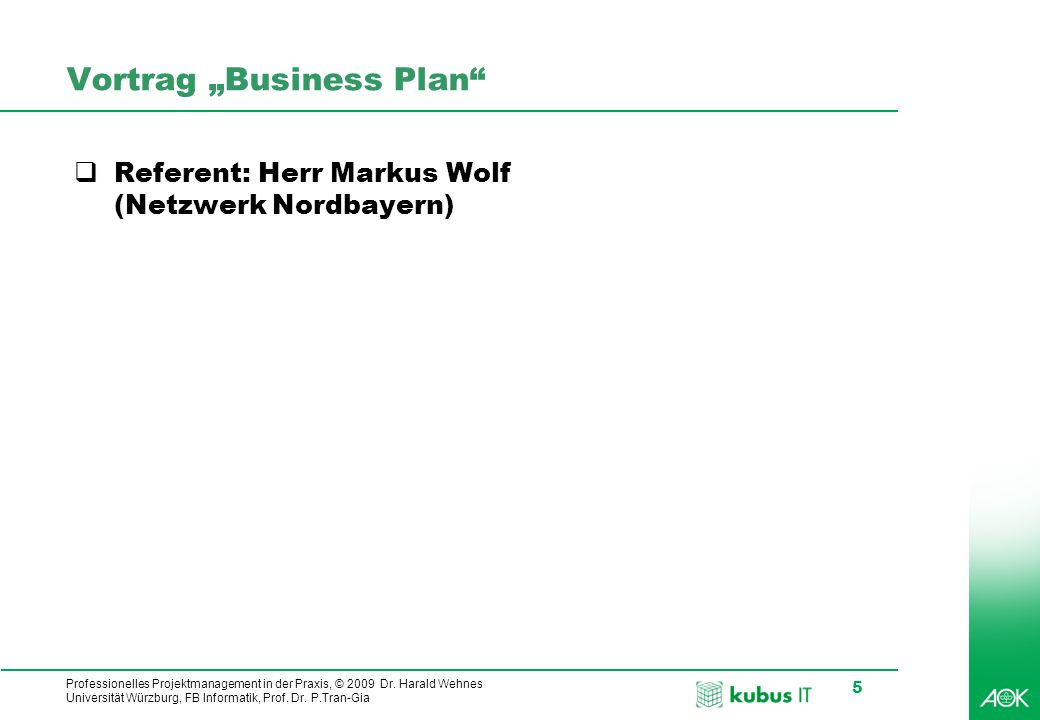 "Vortrag ""Business Plan"