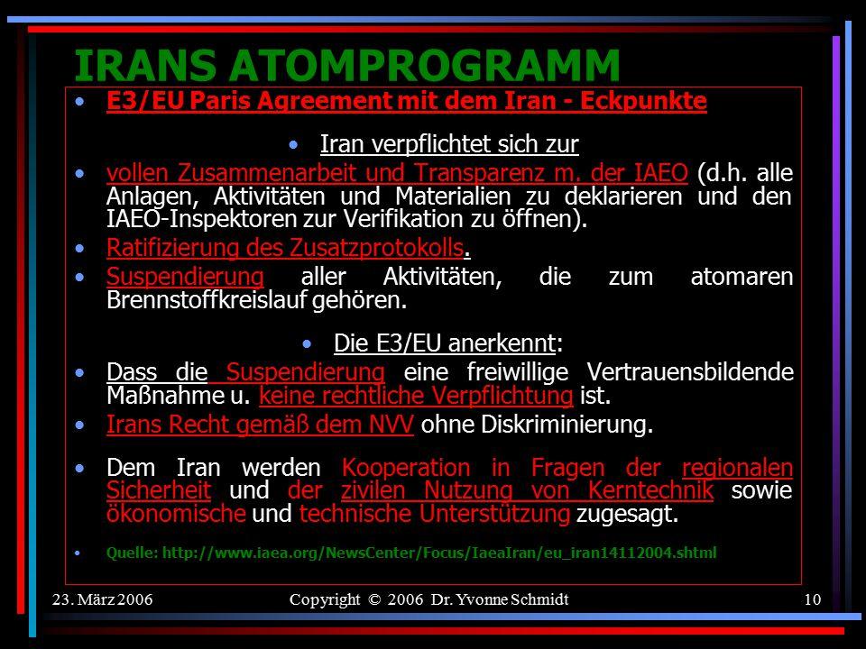 IRANS ATOMPROGRAMM E3/EU Paris Agreement mit dem Iran - Eckpunkte