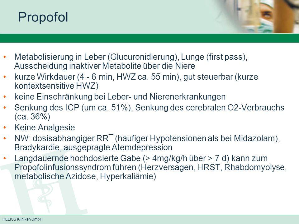 Propofol Metabolisierung in Leber (Glucuronidierung), Lunge (first pass), Ausscheidung inaktiver Metabolite über die Niere.