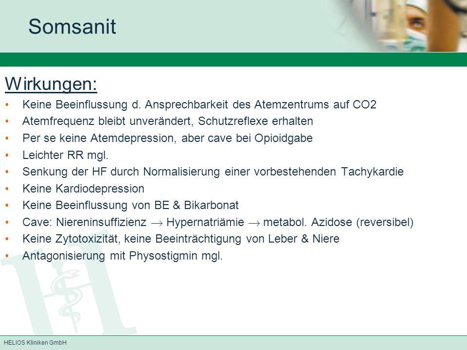 Somsanit Wirkungen: Keine Beeinflussung d. Ansprechbarkeit des Atemzentrums auf CO2. Atemfrequenz bleibt unverändert, Schutzreflexe erhalten.