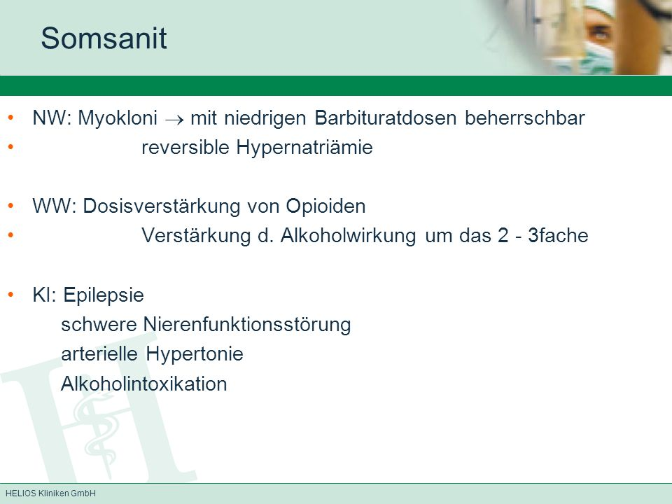 Somsanit NW: Myokloni  mit niedrigen Barbituratdosen beherrschbar
