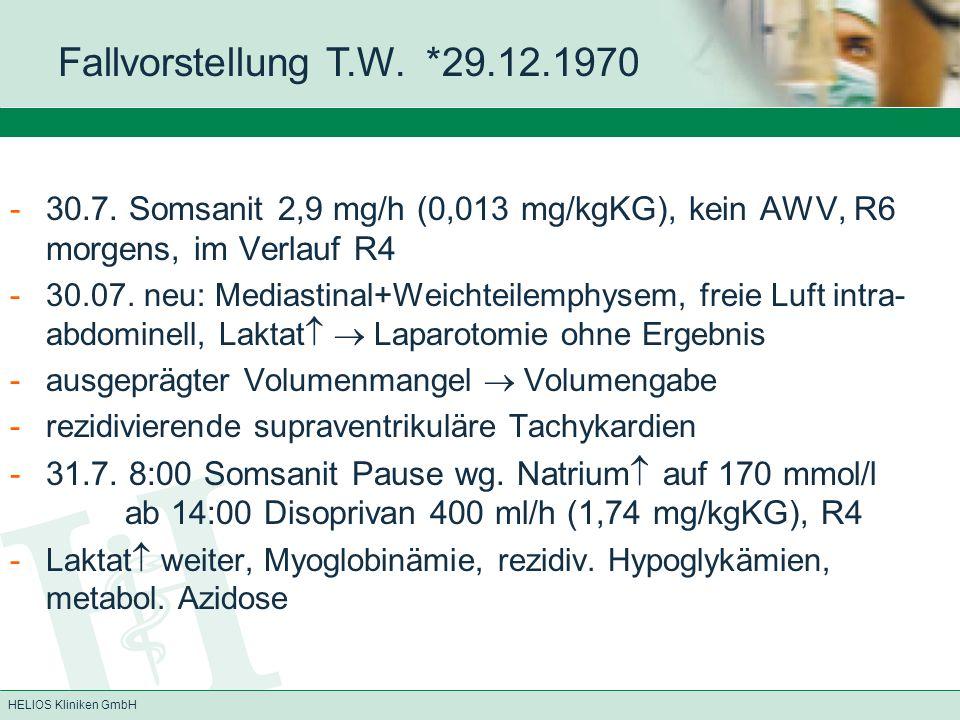 Fallvorstellung T.W. *29.12.1970 30.7. Somsanit 2,9 mg/h (0,013 mg/kgKG), kein AWV, R6 morgens, im Verlauf R4.