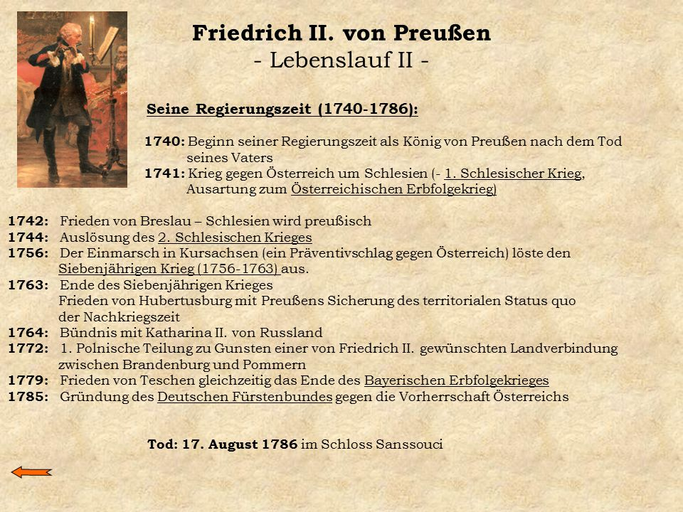 Friedrich II. von Preußen - Lebenslauf II -