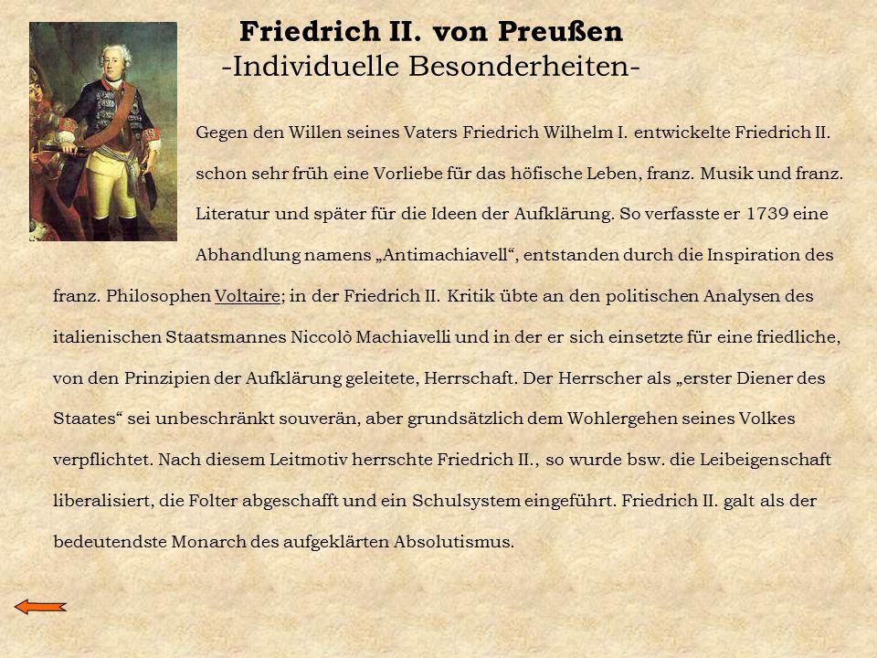 Friedrich II. von Preußen -Individuelle Besonderheiten-