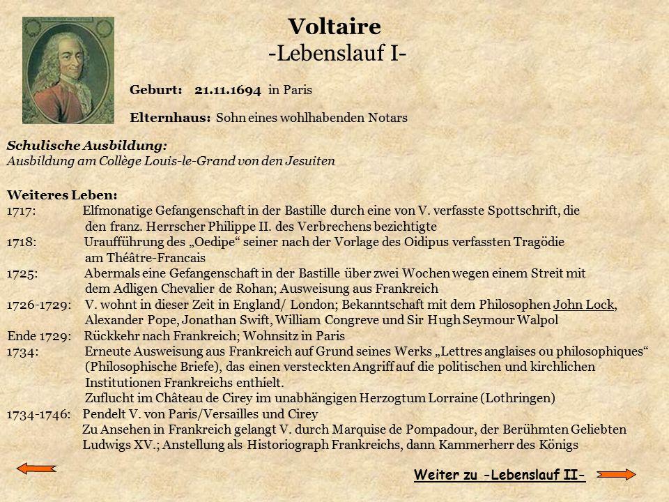 Voltaire -Lebenslauf I-