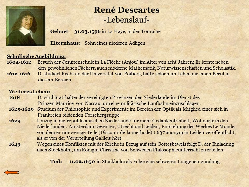 René Descartes -Lebenslauf-