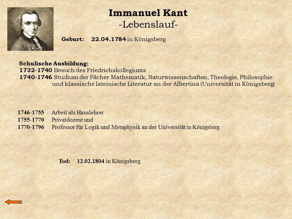 Immanuel Kant -Lebenslauf-