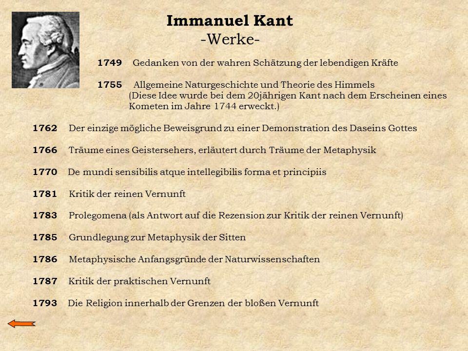 Immanuel Kant -Werke- 1749 Gedanken von der wahren Schätzung der lebendigen Kräfte. 1755 Allgemeine Naturgeschichte und Theorie des Himmels.