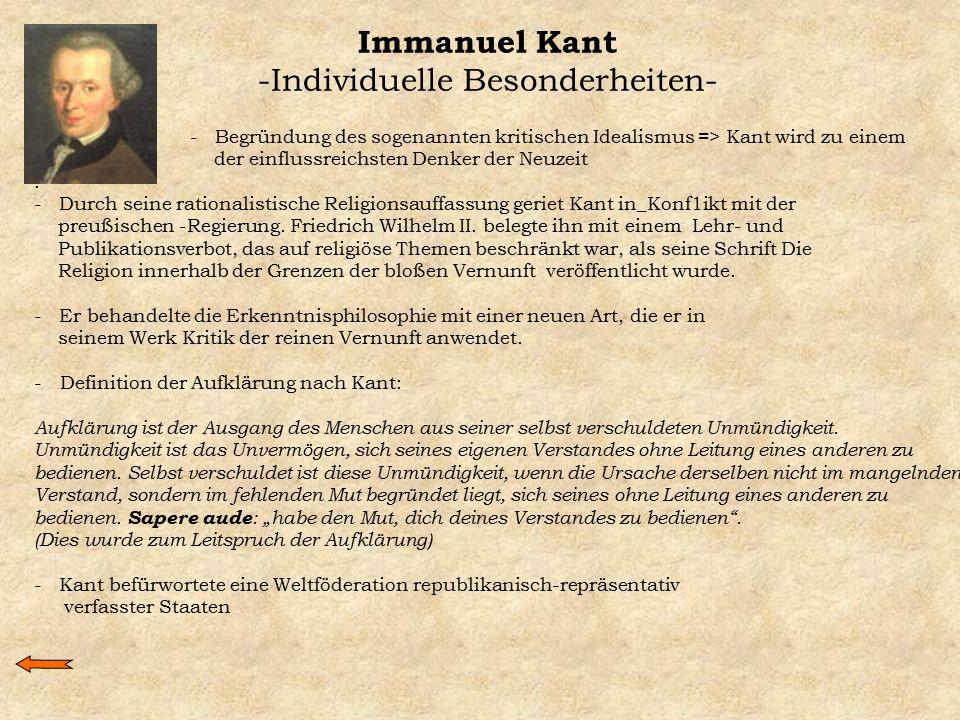 Immanuel Kant -Individuelle Besonderheiten-