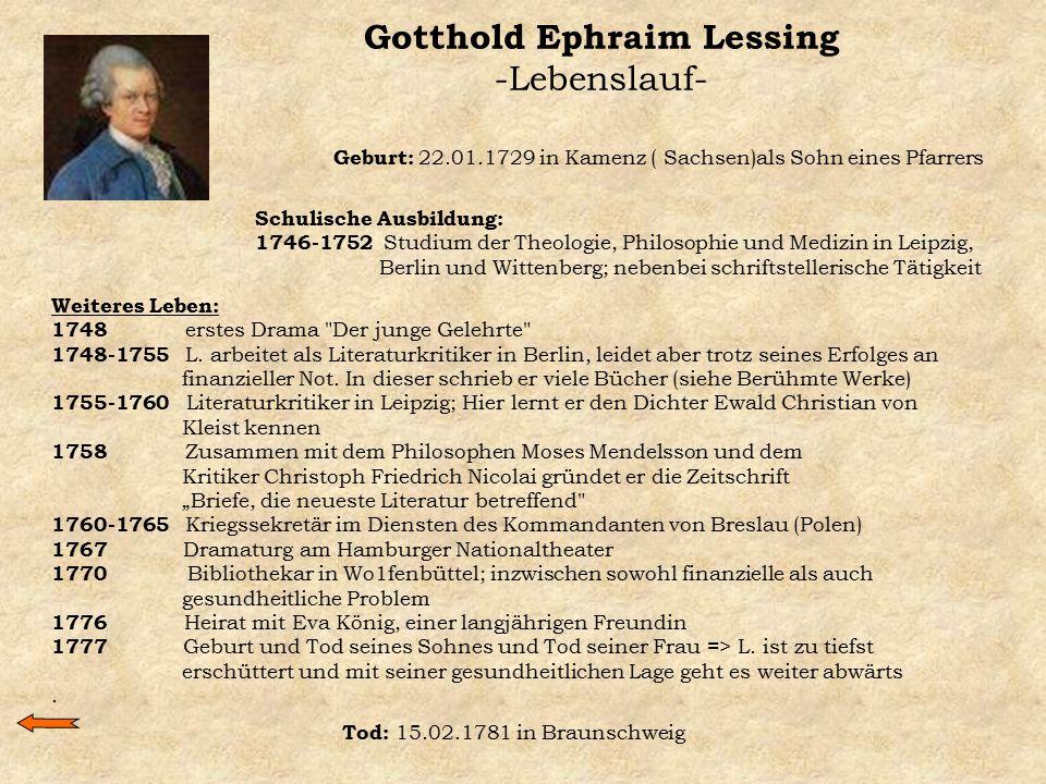 Gotthold Ephraim Lessing -Lebenslauf-