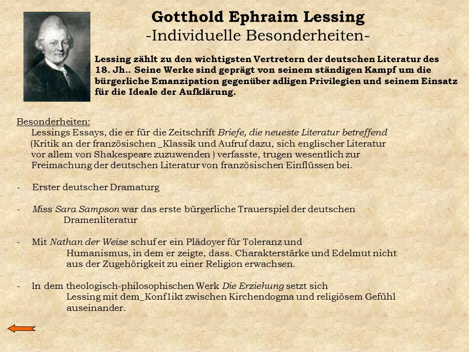 Gotthold Ephraim Lessing -Individuelle Besonderheiten-
