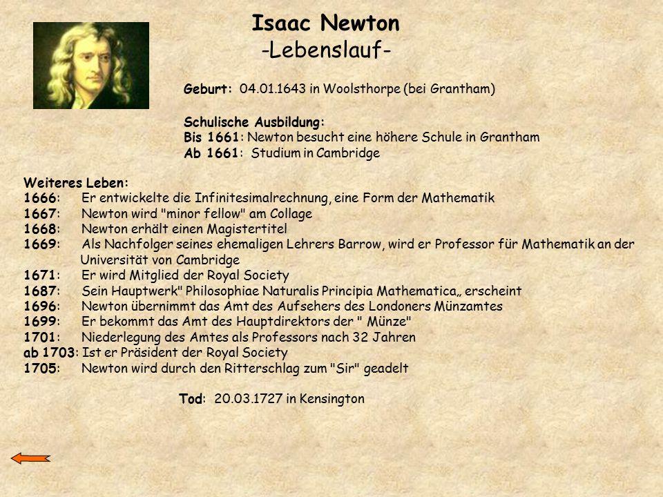 Isaac Newton -Lebenslauf-