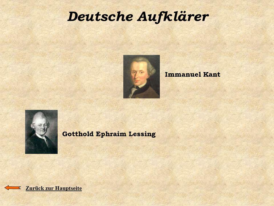 Deutsche Aufklärer Immanuel Kant Gotthold Ephraim Lessing